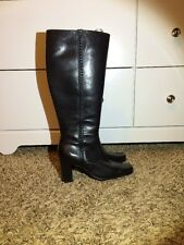 Women's St Johns Bay Black Leather Knee High Boots Size 5