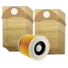 KARCHER humide et sec A2074PT WD2200 Aspirateur FILTRE & Pack de 20 des sacs à poussière