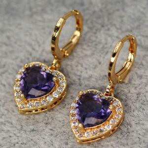 New Yellow Gold Filled Amethyst Purple Heart CZ w/Accents Dangle Drop Earrings