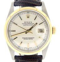 Rolex Datejust Mens 2Tone 18K Yellow Gold Steel Black w/ Silver Roman Dial 16203