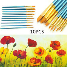 10Pcs Acrylic Watercolor Round Pointed Tip Artists Paint Brush Set Students