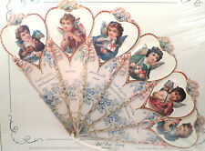 Vintage Inspired Victorian Paper Fan Greeting Card Old Print Factory Child Angel