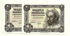 BILLETE DE 1 PESETA DE 1951 (EBC+) QUIJOTE (SERIE C) PAREJA CORRELATIVA