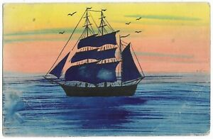 De Panne to Mortsel, Antwerp, Belgium 1934 Hand Painted Postcard Sailing Ship