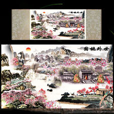 Chinese Silk Scroll Painting Landscape Painting Home Office Decoration (世外桃源)
