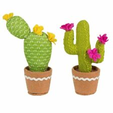 Sass & Belle Colourful Knitted Cacti Faux Cactus Plant Decoration or Pin Cushion Pink Flower