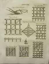 1797 georgian print ~ agriculture charrue chain harrow frein grass seed vis etc