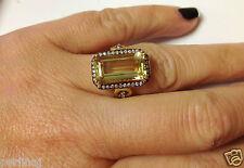 Italian fine18k yellow gold diamonds center emerald cut citrine ring ret $2240