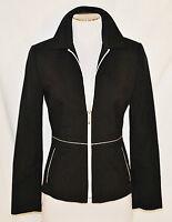 VTG 90s Black White BoHo MOD CHIC Light Layering Fitted  Zipper Jacket Blazer 2