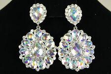 Bridal Wedding Clear+Ab Rhinestone Dangle / Chandelier Bridesmaid Clip Earrings