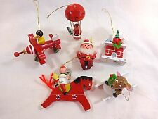 VINTAGE WOOD ORNAMENTS Set of 6 Red Airplane Horse Sled Balloon Ski Christmas