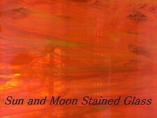 Spectrum Stained Glass Sheet S379-1 - Orange, White Wispy (Size 8X10)