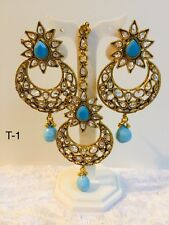 Traditional Indian Polki Kundan Stone Tikka Set With Matching Earring Headpiece