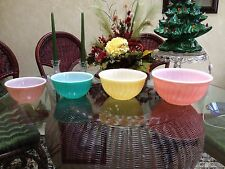 "Vintage Fire King  4 Pc Set of Rainbow Swirl Mixing Bowls..9""-8""-7""-6"""