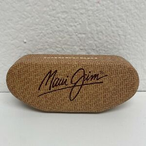 Maui Jim Sunglasses Case Tan Basket Weave Look Clamshell Hard Protective