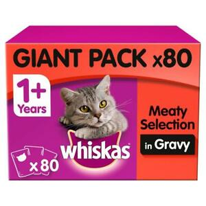 80 x 100g Whiskas 1+ Adult Wet Cat Food Pouches Mixed Meaty In Gravy