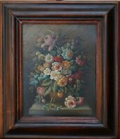 """Alte Gemälde im Rahmen von CALZOLARI, M. UM 1970, """"ÜPPIGES BLUMENSTILLLEBEN"""""""