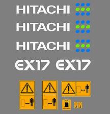 HITACHI EX17 MINI BAGGER AUFKLEBER SATZ MIT SICHERHEIT-WARNZEICHEN