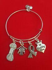 "Silver ""Knitting"" Themed Charm Bracelet (yarn, needles, crochet)"