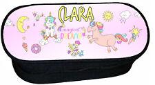trousse à crayons école licorne unicorn personnalisée prénom au choix réf 272