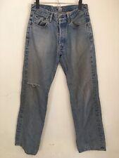 VTG Lucky Brand Button Fly Brander Jeans sz 30 x 31 Ripped Heavy Denim Light USA