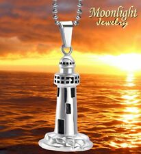 New Lighthouse Beach House Cremation Urn Keepsake Ash Silver Memorial Necklace