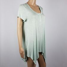 New Sonoma Swing Tee Large Cap Sleeve Scoop Neck Rayon Blend Shirt Melon Green