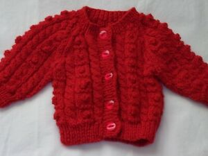 """Baby Girl's Hand Knit Cardigan in Red - 16""""/41cms Chest - BNWOT"""