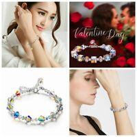 Stylish Blink Aurora Borealis Bracelet with Crystals Chain Adjustable 7Styles