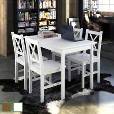 Juego de Muebles de Comedor Mesa y Sillas Salon 5 Piezas Blanco/Marrón vidaXL