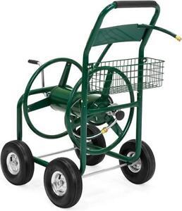 Garden Water Hose Reel Cart Outdoor Heavy Duty Yard Planting with Storage Basket