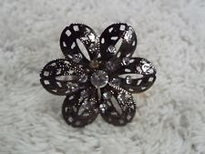 Filigree Gunmetal Rhinestone Flower Ring ~ Adjustable Size 7-9 (A42)