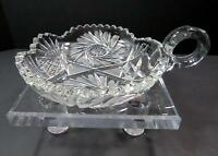 "VINTAGE BRILLIANT CUT CRYSTAL FAN & BUZZSAW SCALLOPED RIM 6"" HANDLED NAPPY"