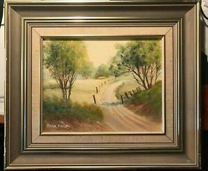 Antique Vintage Original oil  Painting Landscape   framed & signed  37cmx32cm