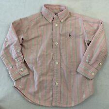 Ralph Lauren Boy's Size 3T Pink Green Striped Button Front Dress Shirt