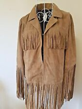 BEAUTIFUL WESTERN STYLE SOFT SUEDE FRINGE TAN BROWN JACKET BY SOUTH,SIZE 12 BNWT