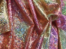 YELLOW TIE DYED CRUSH ICE IRIDESCENT 4 STRETCH LYCRA-UNICORN-SOLD BY THE YARD.