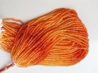 """1 to 5 Strand Natural Carnelian Rondelle Faceted Gemstone Beads 13""""Inch,Orange"""