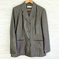Preston & York Women's Medium Jacket Dark Brown Soft Leather Button Up Coat