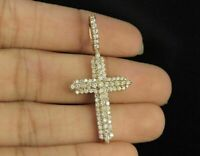 1.00 Ct Round Cut Diamond Cross Pendant Solid 10K Yellow Gold