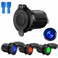 Waterproof 12V/24V Dual USB Port Car Lighter Socket Plug LED Voltmeter