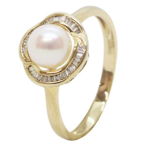9ct Yellow Gold Fancy Pearl With Diamond Baguette Halo Engagement Dress Ring