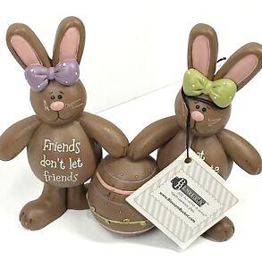 "Suzi Skoglund ""Friends don't let friends eat chocolate Alone""  Bunny Figurines"