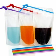 Tomnk 100pcs Clear Drink Pouches Bags Heavy Duty Hand-held Translucent