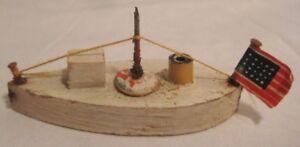 """Antique Wood Folk Art Putz Toy Ship w American Flag 2 1/2"""" Japan Boat 1930"""