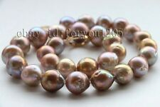 Genuine Natural 12.5-15mm Baroque Purple Reborn Keshi Pearl Necklace 14k #f2608!