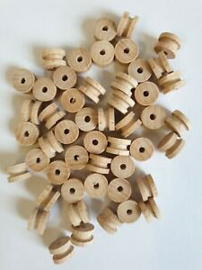 50 x Wooden Spools Bobbins Reels Sewing Threading and Craft Use