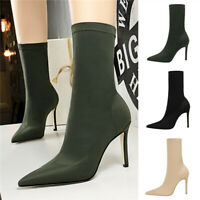 Sexy Women Ladies Pointed Toe Party Shoes High Heel Stiletto Elastic Ankle Boots