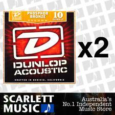 2x Jim Dunlop Acoustic Guitar String Set Extra Light 10-48 Phosphor Bronze