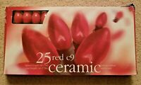 Christmas Lights 25 Red C9 Bulbs Ceramic - Brand New - Never Used - Old Stock